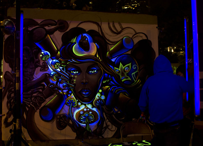 Mexican art painting in black light paint