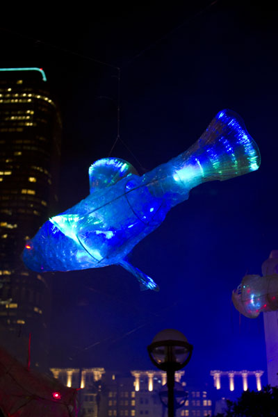 Fish mobile with internal lights