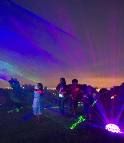 People in laser lights