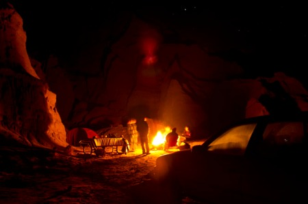 campfire in desert mountains