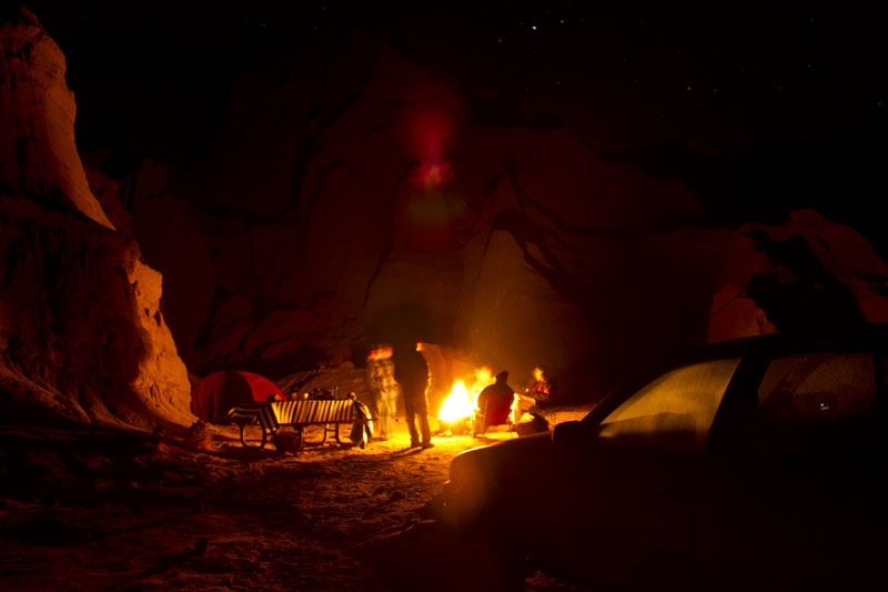 campfire in desert mountains