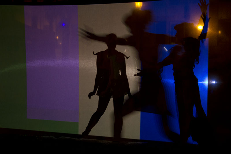 Screen with shadow dancer on it
