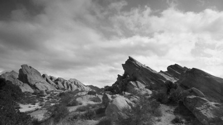 wide angle view of Vasquez Rocks