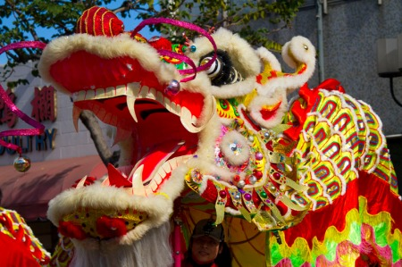 dragon head in parade
