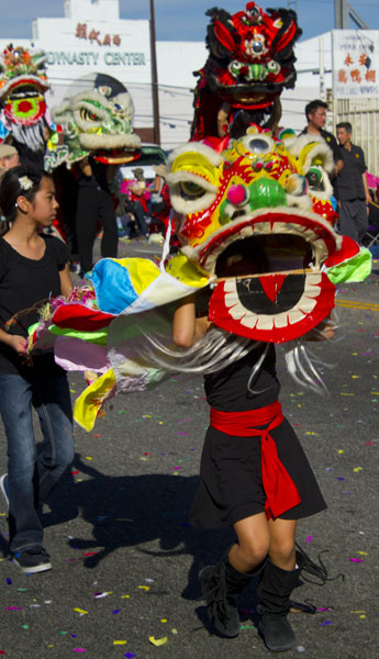young girl in costume in parade