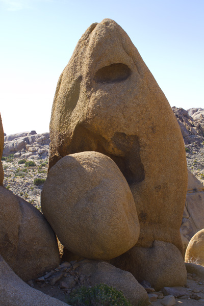 rock with a face, looking like it is biting another rock
