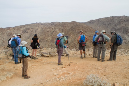 Group of people at summit of trail to 49 Palms Oasis
