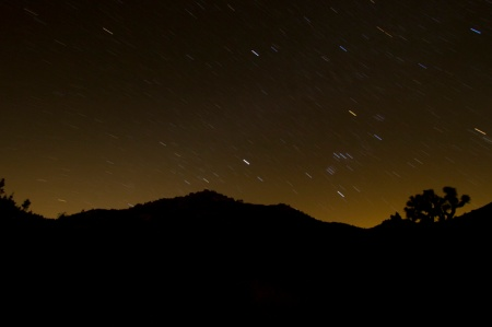 Star trails with hills