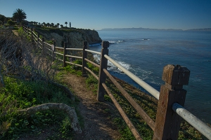 Walk path Point Vicente Lighthouse. Catalina Island in distance. 2015