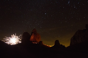 Fireworks going off behind our light painting. Trona Pinnacles 2015