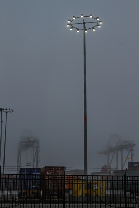 Lights looking ufo-ish in the fog. L.A. Port Fog Series 2015