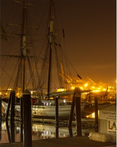 LAMI Tall Ship in the dark. LA Fog Series 2015.
