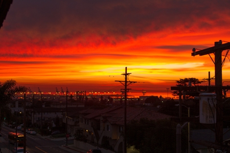 sunrise over L.A. Harbor