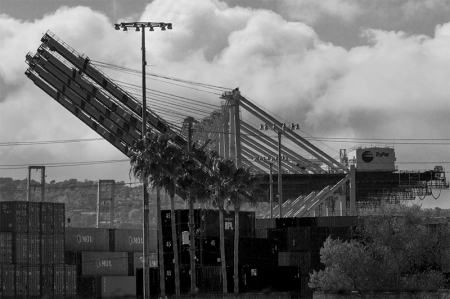 Cargo cranes in L.A.Harbor. 2011