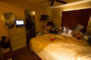 stuff in motel room after escaping abuse
