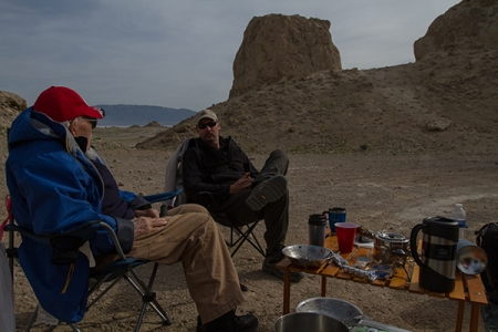 people hving breakfast at Trona Pinacles, Mojave