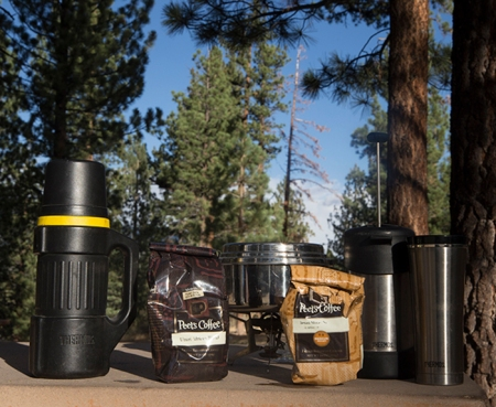 Thermos brand french press, travel cup, thermos, MSR stove, Peet's Coffee