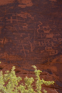 A wall of petroglyphs, just one site of may. Keep your eyes open where the black is on the rocks. Copyright (Native Americans) Vanderhoof Photography