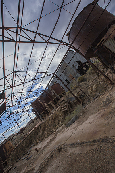 Spent a few minutes playing with the steel framework, sky and other back structures. Gold Point Nv. Copyright Vanderhoof Photography 2015