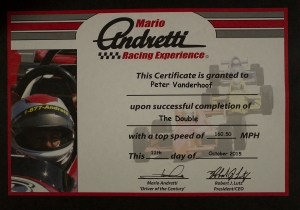 The certificate they give you and down there it is 160.50mph. On a double.