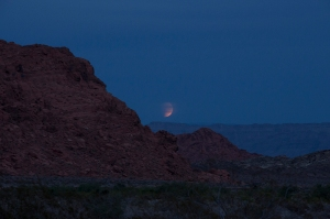 Valley of Fire, Super Blood(less) Lunar Eclipse rising in east over the cliffs. Copyright Vanderhoof Photography 2015