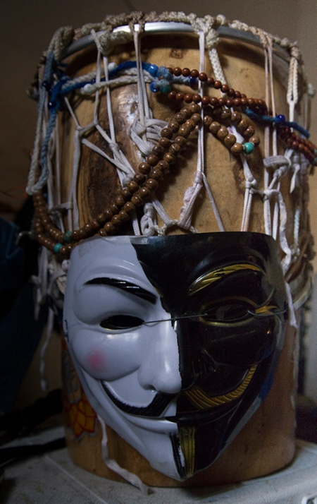 my toy drum, just something to bang on by myself, but since I am sort of an Anonymous member, as an outcast of societies, and no human rights in the USA. Anyway, I support everyone, so I made a 2 tone mask. Copyright Vanderhoof Photography 2016
