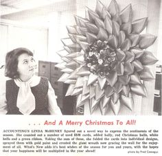 1967 news article punch card wreath